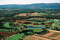 Aerial view of Albany County in the fall, New York