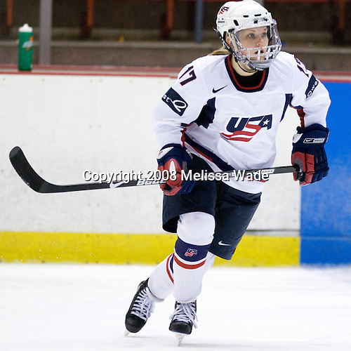 Jocelyne Lamoureux (US - 17) - Team USA defeated Team Canada 4-3 (so) to win the 2008 Four Nations Cup on Sunday, November 9, 2008, in the 1980 Rink in Lake Placid, New York.