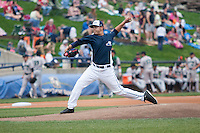West Michigan Whitecaps pitcher Eudis Idrogo (26) delivers a pitch to the plate against the Dayton Dragons on April 24, 2016 at Fifth Third Ballpark in Comstock, Michigan. Dayton defeated West Michigan 4-3. (Andrew Woolley/Four Seam Images)