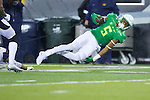 Oct 07, 2015; Eugene, OR, USA; Oregon Ducks running back Taj Griffin (5) flies for extra yards against the California Golden Bears at Autzen Stadium. <br /> Photo by Jaime Valdez