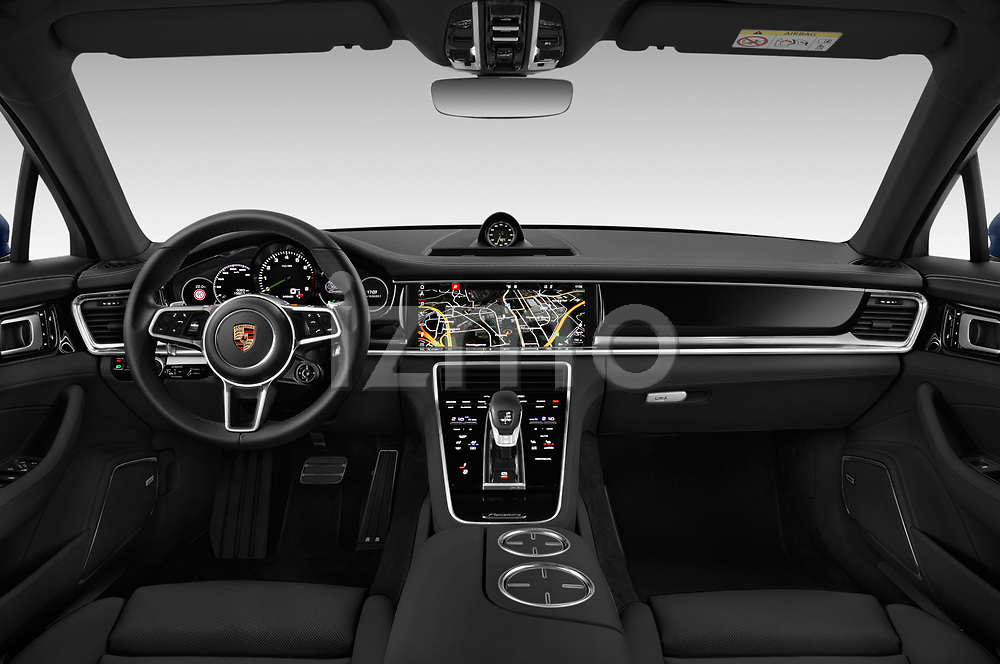 Stock photo of straight dashboard view of a 2018 Porsche Panamera 4 E-Hybrid 5 Door Hatchback