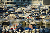 LEBANON, Beirut, yachts at Zaitunay bay at mediterranean sea, yachts of rich exil lebanese  / LIBANON, Beirut, Jachthafen Zaitunay Bay am Mittelmeer, Jachten von reichen Exil Libanesen