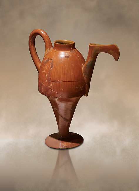 Terra cotta Hittite beaker shaped side spouted pitcher - 1700 BC to 1500BC - Kültepe Kanesh - Museum of Anatolian Civilisations, Ankara, Turkey,  Against a warm art  background