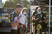 stage winner Caleb Ewan (AUS/Lotto-Soudal) backstage behind the finish podium<br /> <br /> Stage 11 from Châtelaillon-Plage to Poitiers (168km)<br /> <br /> 107th Tour de France 2020 (2.UWT)<br /> (the 'postponed edition' held in september)<br /> <br /> ©kramon