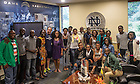 Jul. 22, 2014; Young African Leadership Initiative (YALI) students meet with Notre Dame head basketball coach Mike Brey.<br /> <br /> Photo by Matt Cashore/University of Notre Dame