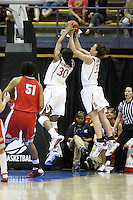 BERKELEY, CA - MARCH 30: Jillian Harmon and Nneka Ogwumike combine for a defensive rebound during Stanford's 84-66 win against the Ohio State Buckeyes on March 28, 2009 at Haas Pavilion in Berkeley, California.