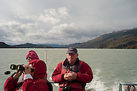 Tourists on a cruise boat that will take them to the face of the Grey Glacier at Torres del Paine National Park in southern Chile. (Kevin Moloney for the New York Times)