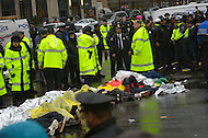 December 7, 2011  (Washington, DC)  OccupuDC protesters lie and block K Street on a day chilled with winter rain.  Dozens of protesters were arrested after refusing to obey police orders to clear the street.   (Photo by Don Baxter/Media Images International)