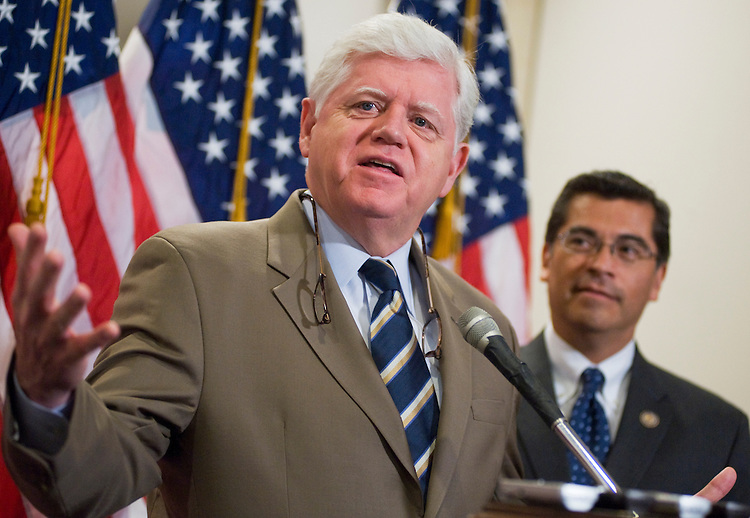 UNITED STATES - JULY 12:  Rep. John Larson, D-Conn., left, Chairman of the House Democratic Caucus, and Rep. Xavier Becerra, D-Calif., conduct a news conference in the Capitol Visitor Center after a meeting of the their Caucus.  The debt ceiling debate was the main issue discussed.  (Photo By Tom Williams/Roll Call)