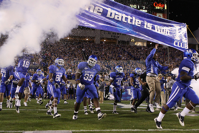 UK takes the field in the game against University of Georgia at Commonwealth Stadium on Saturday, Oct. 23, 2010. Photo by Scott Hannigan | Staff
