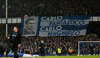 Everton fans fly a flag in tribute to manager Carlo Ancelotti<br /> <br /> Photographer Alex Dodd/CameraSport<br /> <br /> The Premier League - Everton v Newcastle United  - Tuesday 21st January 2020 - Goodison Park - Liverpool<br /> <br /> World Copyright © 2020 CameraSport. All rights reserved. 43 Linden Ave. Countesthorpe. Leicester. England. LE8 5PG - Tel: +44 (0) 116 277 4147 - admin@camerasport.com - www.camerasport.com