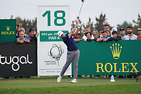 Oliver Fisher (ENG) on the 18th during Round 4 of the Portugal Masters, Dom Pedro Victoria Golf Course, Vilamoura, Vilamoura, Portugal. 27/10/2019<br /> Picture Andy Crook / Golffile.ie<br /> <br /> All photo usage must carry mandatory copyright credit (© Golffile | Andy Crook)