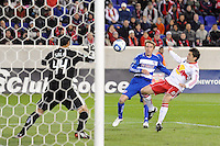 Sinisa Ubiparipovic (8) of the New York Red Bulls attempts a shot. The New York Red Bulls defeated FC Dallas 2-1 during a Major League Soccer (MLS) match at Red Bull Arena in Harrison, NJ, on April 17, 2010.