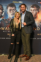 Shannon Courtenay (L) and Eddie Hearn during a Press Conference at the Grange City Hotel on 6th February 2019