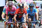Vincenzo Nibali (ITA) Bahrain-Merida tries to attack Maglia Rosa Richard Carapaz (ECU) and team mate Mikel Landa Meana (ESP) Movistar Team, with Pello Bilbao (ESP) Astana Pro Team behind during Stage 20 of the 2019 Giro d'Italia, running 194km from Feltre to Croce d'Aune-Monte Avena, Italy. 1st June 2019<br /> Picture: Fabio Ferrari/LaPresse | Cyclefile<br /> <br /> All photos usage must carry mandatory copyright credit (© Cyclefile | Fabio Ferrari/LaPresse)