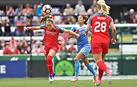 Portland, OR - Saturday April 29, 2017: Celeste Boureille, Christen Press during a regular season National Women's Soccer League (NWSL) match between the Portland Thorns FC and the Chicago Red Stars at Providence Park.