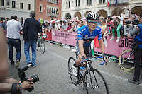 blue (mountain) jersey Julián Arredondo (COL/Trek Factory Racing) would go on to win the stage that day<br /> <br /> 2014 Giro d'Italia<br /> stage 18: Belluno - Rifugio Panarotta (Valsugana), 171km