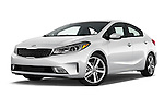 Stock pictures of low aggressive front three quarter view of 2017 KIA Forte EX-AT 4 Door Sedan Low Aggressive