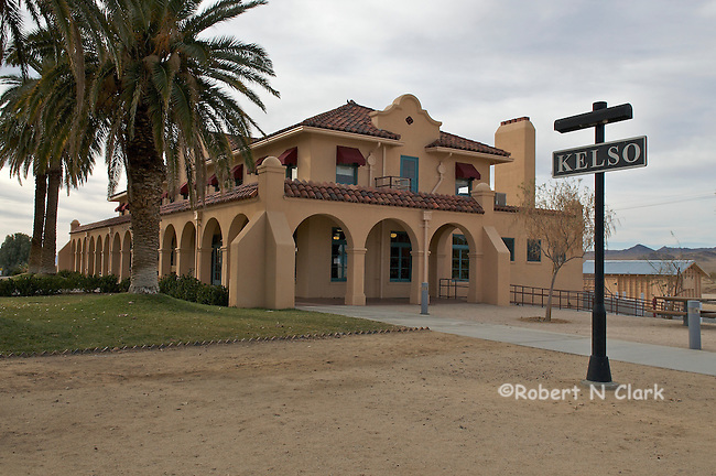 The Kelso Train Depot in Mojave National Preserve on a cloudy winter day