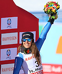 ALPINE WORLD SKI CHAMPIONSHIPS 2017. Sofia Goggia at the podium during the Ladie's Giant Slalom in St. Moritz on February 16, 2017. France's Tessa Worley is the new World Champion ahead of USA's Mikaela Shiffrin, Sofia Goggia from Italy is third .
