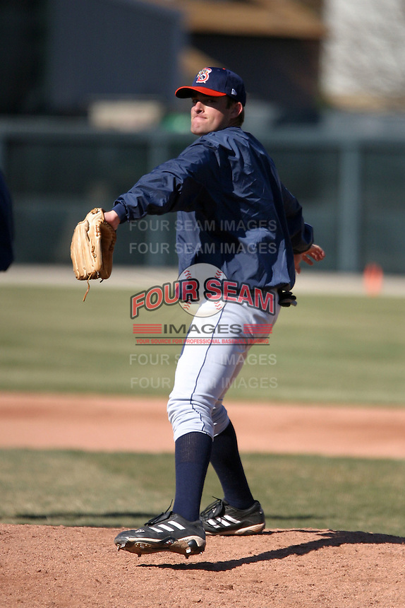 April 11, 2005:  Pitcher Brian Bannister of the Binghamton Mets during a game at Jerry Uht Park in Erie, PA.  Binghamton is the Eastern League Double-A affiliate of the New York Mets.  Photo by:  Mike Janes/Four Seam Images