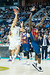 Micheal Eric tries to block a shoot of Facundo Campazzo during Real Madrid vs Kirolbet Baskonia game of Liga Endesa. 19 January 2020. (Alterphotos/Francis Gonzalez)