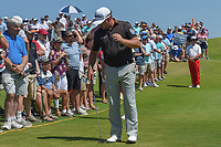 Graeme McDowell (NIR) reacts to his putt onto 9 during round 1 of the AT&amp;T Byron Nelson, Trinity Forest Golf Club, at Dallas, Texas, USA. 5/17/2018.<br /> Picture: Golffile | Ken Murray<br /> <br /> <br /> All photo usage must carry mandatory copyright credit (&copy; Golffile | Ken Murray)