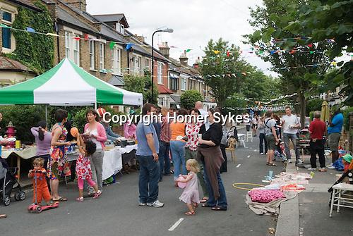 Street Party. The Big Lunch. Brunswick Street Walthamstow Village London E17 England 2009.