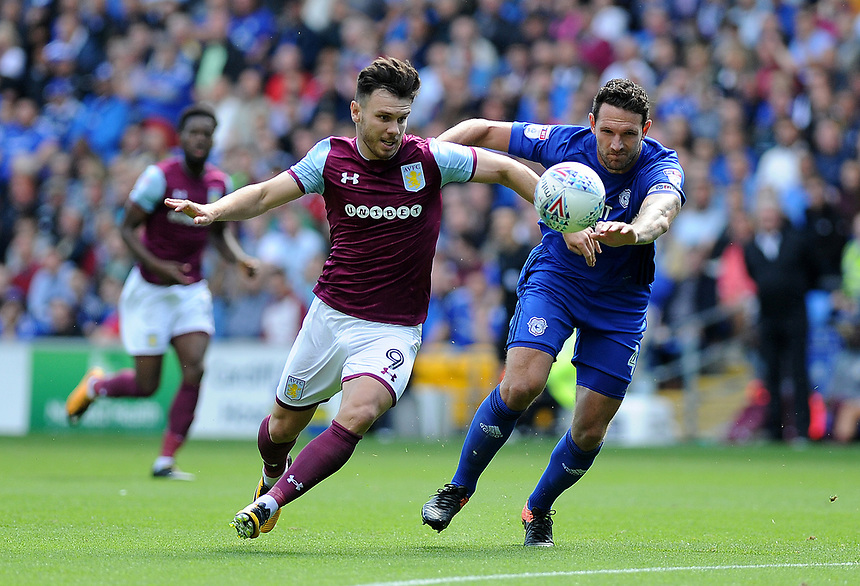 Aston Villa's Scott Hogan in action <br /> <br /> Photographer Ashley Crowden/CameraSport<br /> <br /> The EFL Sky Bet Championship - Cardiff City v Aston Villa - Saturday August 12th 2017 - Cardiff City Stadium - Cardiff<br /> <br /> World Copyright &copy; 2017 CameraSport. All rights reserved. 43 Linden Ave. Countesthorpe. Leicester. England. LE8 5PG - Tel: +44 (0) 116 277 4147 - admin@camerasport.com - www.camerasport.com