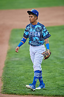 Kenneth Betancourt (9) of the Ogden Raptors during a game against the Billings Mustangs at Lindquist Field on August 17, 2018 in Ogden, Utah. Billings defeated Ogden 6-3. (Stephen Smith/Four Seam Images)