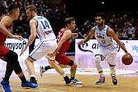 GRONINGEN - Basketbal, Donar - Spirou, Martiniplaza, Europe Cup, seizoen 2019-2020, 27-11-2019,  Donar speler Carrington Love met Spirou speler Joe Rahon