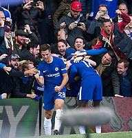 Cesar Azpilicueta of Chelsea punches the air to celebrate his goal during the Premier League match between Chelsea and Watford at Stamford Bridge, London, England on 21 October 2017. Photo by Andy Rowland.