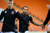 Blackpool's Sean Scannell goes through his warm ups<br /> <br /> Photographer Alex Dodd/CameraSport<br /> <br /> EFL Leasing.com Trophy - Northern Section - Group G - Blackpool v Morecambe - Tuesday 3rd September 2019 - Bloomfield Road - Blackpool<br />  <br /> World Copyright © 2018 CameraSport. All rights reserved. 43 Linden Ave. Countesthorpe. Leicester. England. LE8 5PG - Tel: +44 (0) 116 277 4147 - admin@camerasport.com - www.camerasport.com