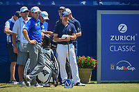 Zach Johnson (USA) and Jonathan Byrd (USA) wait to tee off on 1 during Round 4 of the Zurich Classic of New Orl, TPC Louisiana, Avondale, Louisiana, USA. 4/29/2018.<br /> Picture: Golffile | Ken Murray<br /> <br /> <br /> All photo usage must carry mandatory copyright credit (&copy; Golffile | Ken Murray)