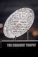 Jan. 1, 2011; Glendale, AZ, USA; Detailed view of the Coaches Trophy , which will be awarded to the winner of the BCS championship game, on the sidelines of the game between the Oklahoma Sooners against the Connecticut Huskies in the 2011 Fiesta Bowl at University of Phoenix Stadium. The Sooners defeated the Huskies 48-20. Mandatory Credit: Mark J. Rebilas-