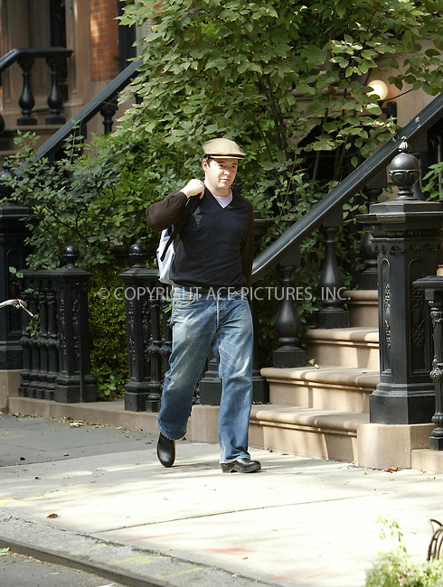 WWW.ACEPIXS.COM ** ** **EXCLUSIVE!!! FEE MUST BE NEGOTIATED BEFORE USE!!!***....NEW YORK, OCTOBER 5, 2005....Matthew Broderick wearing clogs exits his house on a beautiful fall day in Greenwich Village.....Please byline: JENNIFER L GONZELES-ACE PICTURES.. *** ***  ..Ace Pictures, Inc:  ..Craig Ashby (212) 243-8787..e-mail: picturedesk@acepixs.com..web: http://www.acepixs.com