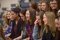NWA Democrat-Gazette/BEN GOFF @NWABENGOFF<br /> Students react Monday, May 1, 2017, as Miss America Savvy Shields speaks during a presentaiton with Gov. Asa Hutchinson at Fulbright Junior High in Bentonville to kick off a new initiative called 'Healthy Active Arkansas.'
