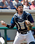 Reno Aces catcher Tuffy Gosewisch throws against the Fresno Grizzlies during their game played on Sunday afternoon, April 28, 2013 in Reno, Nevada.