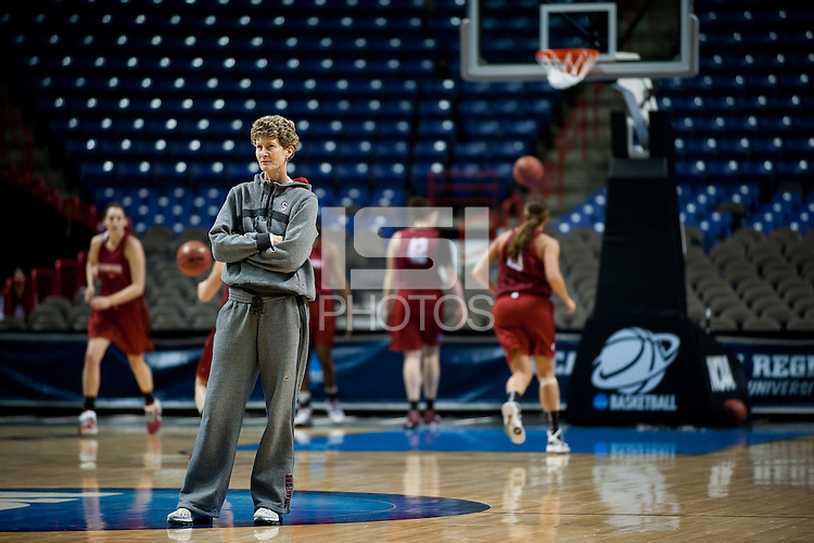 SPOKANE, WA - MARCH 25, 2011: Assistant Coach Amy Tucker at the Stanford Women's Basketball, NCAA West Regionals practice at Spokane Arena on March 25, 2011.