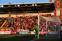 Lincoln City fans watch their team in action<br /> <br /> Photographer Chris Vaughan/CameraSport<br /> <br /> The EFL Sky Bet League Two Play Off Second Leg - Exeter City v Lincoln City - Thursday 17th May 2018 - St James Park - Exeter<br /> <br /> World Copyright &copy; 2018 CameraSport. All rights reserved. 43 Linden Ave. Countesthorpe. Leicester. England. LE8 5PG - Tel: +44 (0) 116 277 4147 - admin@camerasport.com - www.camerasport.com