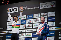 Tom Dumoulin (NED/Sunweb) is the new Time Trial World Champion<br /> Primoz Roglic (SVK/LottoNL-Jumbo) takes silver and Chris Froome (GBR/SKY) bronze<br /> <br /> Men Elite Individual Time Trial<br /> <br /> UCI 2017 Road World Championships - Bergen/Norway