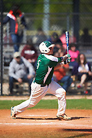 Farmingdale State Rams Nick Osburn (5) hits a home run during the first game of a doubleheader against the FDU-Florham Devils on March 15, 2017 at Lake Myrtle Park in Auburndale, Florida.  Farmingdale defeated FDU-Florham 6-3.  (Mike Janes/Four Seam Images)