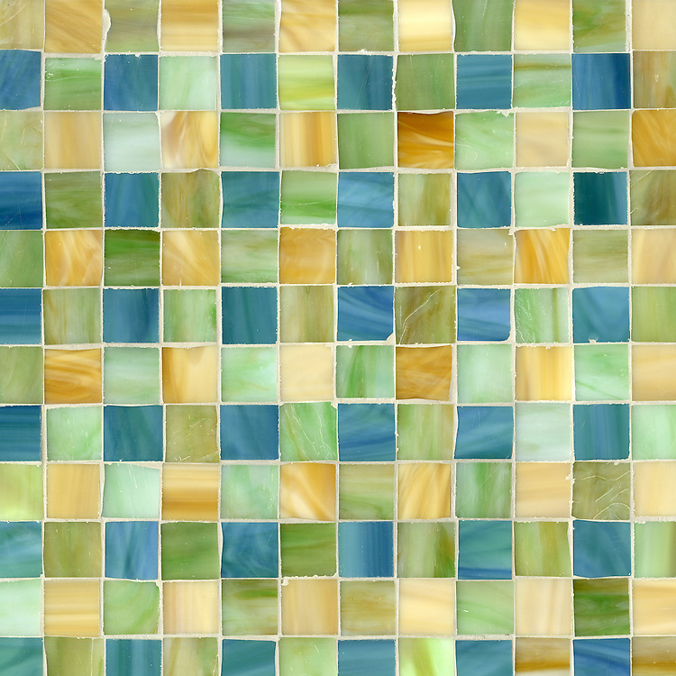 Bonnie, a jewel glass mosaic field shown in Peacock Topaz, Peridot and Amber.