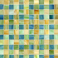 Bonnie, a jewel glass mosaic field shown in Peacock Topaz, Peridot and Amber, is part of the Plaids and Ginghams Collection by New Ravenna Mosaics.