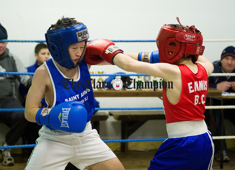 Cian Kennedy, Westport in action against Thomas P Doherty of Ennis during the annual Westport V Ennis boxing tournament at Ennis Boxing Club. Photograph by John Kelly.