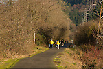 People riding bikes on the Springwater Corridor, Oregon