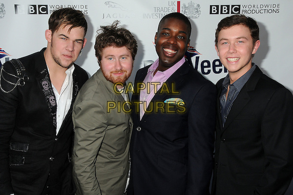 JAMES DURBIN, CASEY ABRAMS, JACOB LUSK, SCOTTY McCREERY .5th Annual BritWeek Launch Party held at the British Consul General's Home, Los Angeles, California, USA, .26th April 2011..American Idol contestants half length suit black grey gray purple pink shirt skull .CAP/ADM/BP.©Byron Purvis/AdMedia/Capital Pictures.