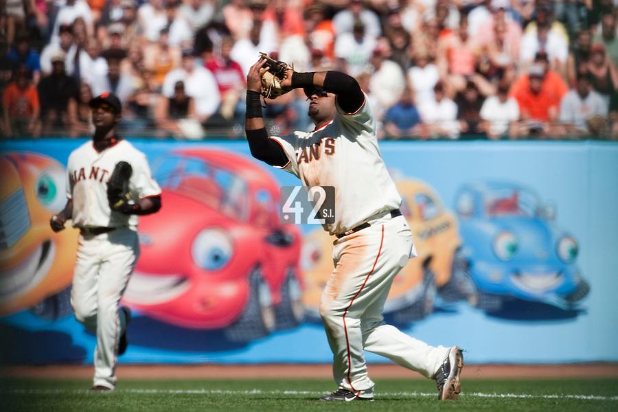 19 April 2009: San Francisco Giants' third base Pablo Sandoval catches a fly ball during the San Francisco Giants' 2-0 win  against the Arizona Diamondbacks at AT&T Park in San Francisco, CA.