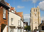 Church tower and historic buildings, Beccles, Suffolk, England