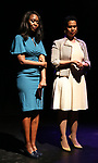 """Immaculee Ilibagiza and Leslie Malaika Lewis on stage during """"Miracle in Rwanda"""" honoring International Day of Reflection on the 1994 Genocide against the Tutsi in Rwanda at the Lion Theatre on Theater Row on April 7, 2019 in New York City."""